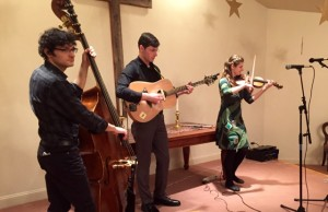Mari Black and her trio at the big contra dance. World Scots fiddle champion Mari and her incredibly gifted band really drove the dance.
