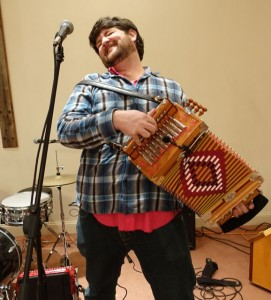 Blake Miller of the Revelers hamming it up during a sound check. Accordion players, especially Cajun ones, absolutely have more fun.
